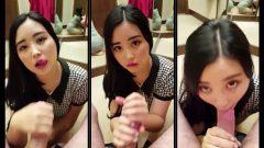 Cute asian girl sucking